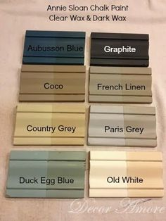 I put together a few practice boards to show how different Annie Sloan paint colors's look with Clear Wax and Dark Wax. They are quite diffe... #Anniesloan