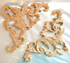 "8""W X 8""H X 5/8""TH, Hand Carved Red Oak Wood Scroll Coner Applique Onlay Corbel ( Pair, L & R)"
