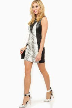 Reptile Print Contrast Dress