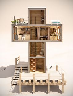 This conceptual design from Georgian architect Dachi Papuahvili, is an interesting take on tiny houses and how to live in them. The concept home is cross-l