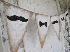 Mustache and Bowties Burlap Banner. $24.00, via Etsy.
