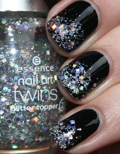 Black nails w/ glitter tips! HOT