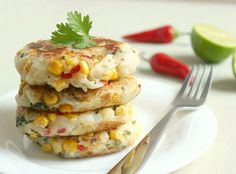 These corn and potato cakes also contain lime, coriander and chilli to give a Thai feel - the perfect dish to have alongside a Thai curry or stir fry!