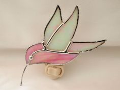 Stained Glass Humming Bird Night Light by GlassofDistinction