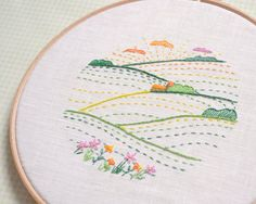 DIY Embroidery hoop art, nature art, hand embroidery pattern, green valley, modern minimalist, country landscape