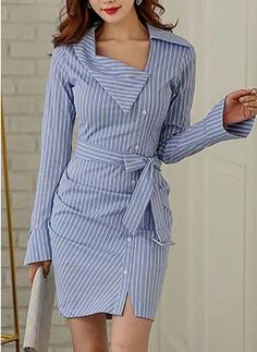 Amazing blue shirt dress design, love it so much - LadyStyle - striped dress summer outfits summer dress outfit blue summer dress outfit blue summer dress outfit outfits baby blue dress - blue dress outfit - Summer Blue Dresses 2019 Trend Fashion, Look Fashion, Womens Fashion, Fashion Design, Fashion 2020, Dress Outfits, Fashion Dresses, Casual Dresses, Casual Outfits