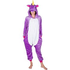 Adult Onesies Kigurumi Cosplay Costume: Unicorn Hood Animal Onesie Furries Pajamas for Men & Women (Small, Purple)