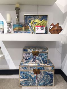 "The Marbelized Treasure Box by Julia Buckingham for Global Views features marbleized laminated paper that lines the inside and outside of the box. Stylish storage that fits the ""natural elements"" and color story we are seeing this market!"
