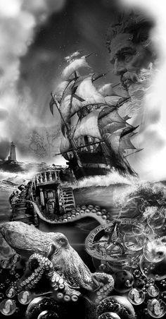 Tatoo Pirate, Pirate Ship Tattoos, Pirate Art, Pirate Ships, Pirate Nautical Tattoos, Pirate Octopus Tattoo, Ocean Tattoos, Octopus Tattoos, Body Art Tattoos