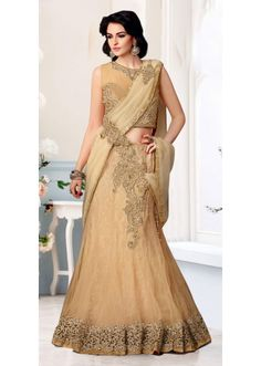 Dazzling Beige Colored Border Worked Net #Lehenga #Saree 3927 #индия #лехенга #сари
