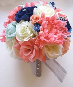 17 pc Wedding Bouquet Bridal Silk flowers CORAL MINT NAVY BLUE SILVER decoration #yesssido #Wedding #FlowersBouquets