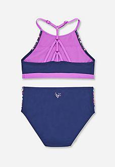 Justice Girls Swimwear Take me to The Beach Tie Dye Flip Sequin Tankini Set Multi Pink