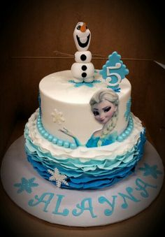Frozen theme with edible image on top tier and fondant ruffle around the bottom tier.  Love this one, so elegant.