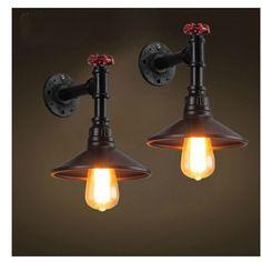 Schwarz Loft Schmiedeeisen Industrie Wasserleitung Vintage Retro Wandleuchte Wandleuchte Kreative Neben Lampen E27 Edison Zu Hause Leuchte