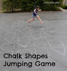 Gross Motor This jumping game is made by drawing chalk shapes outside. Join us for some gross motor fun! you can find similar pins below. Gross Motor Activities, Outdoor Activities For Kids, Outdoor Learning, Sensory Activities, Outdoor Play, Summer Activities, Movement Activities, Preschool Activities, Physical Activities