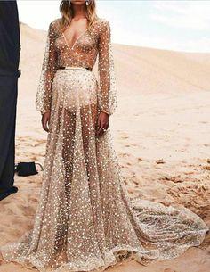 Elegant Mesh Sequins Slim Long Dress