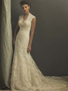 Allure Couture C155 V-Neck Lace Wedding Gown