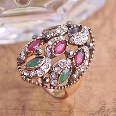 2015 neue türkei retro harz neueste orientalischen türkisch-osmanischen hurrem Sultan anel aneis ring jahrgang smaragd gold ringe für frauen(China (Mainland))