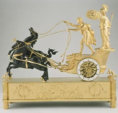 """Pendulum Clock """"The chariots of Telemachus. Design and Bronze: attr. """"Jean Andre kingdoms"""" (from 1752 to 1817). France, Empire era approximately 1800. Ziffbl sign .-. """"Oudin eleve de Breguet. excellent composition with excellent gilt and patinated bronze eight-day movement with anchor gear, thread suspension of the pendulum strike on a bell to the full - and half an hour."""