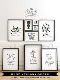 Printable bathroom wall art from The Crown Prints on Etsy - lots of funny quotes and designs. Instant bathroom decor! http://www.etsy.com/shop/TheCrownPrints