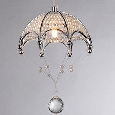 $89 Cnidaria Umbrella-shaped Chrome and Crystal 1-light Chandelier | Overstock™ Shopping - Great Deals on Warehouse of Tiffany Chandeliers & Pen...