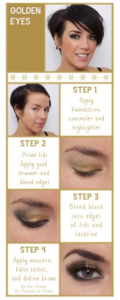 Golden Eyes Make-up Tutorial, Beauty, Fashion, Styling, Party Looks, Gold, Sparkle, Bridal Make-up, Wedding Beauty, Pocketful of Dreams, Dani Hawley, Make-Up Artist North-West