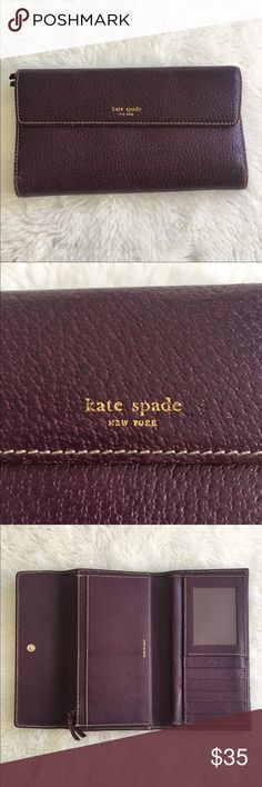 """Kate Spade Large Purple Leather Wallet Checkbook Pre-owned authentic Kate Spade Large Purple Leather Wallet Checkbook. Wallet measures 7.5"""" wide and 4.5"""" tall. Corners have some wear and are shown in picture. Some scuffing inside and out of wallet. It has a zippered coin and check holder. Please look at pictures for better reference. Happy Shopping! kate spade Bags Wallets"""