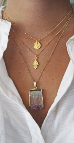 Layering - Raw Amethyst Slice Necklace Order of pendants- shapes. Hmm I have the amethyst slice, not to compile the rest. Hamsa Necklace, Amethyst Necklace, Coin Necklace, Purple Necklace, Crystal Necklace, Jewelry Accessories, Fashion Accessories, Fashion Jewelry, Bracelets