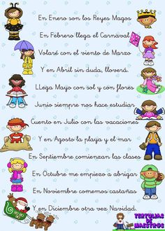 Spanish poems for kids: the months in Spanish. Poema con los meses.
