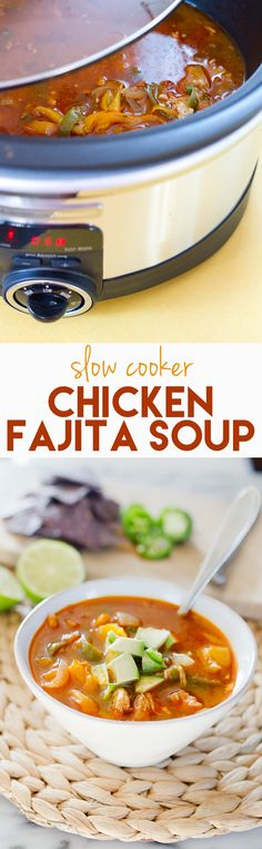 Simply toss all the ingredients for fajitas in your slow cooker and a few hours later you'll have a comforting soup that's packed with flavor and a hint of spice. This fajita soup is (Chicken Fajitas Crockpot) Healthy Crockpot Recipes, Slow Cooker Recipes, Paleo Recipes, Mexican Food Recipes, Cooking Recipes, Crockpot Meals, Healthy Meals, Cooking Stuff, Lunch Recipes