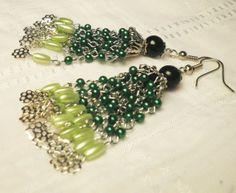 Green Chandelier Earrings With Black Bead by juta230 on Etsy, $22.95