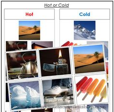 Hot or Cold Sorting Object Cards - Montessori Cards for Montessori Learning at home and school.