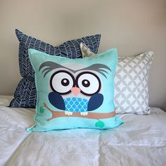 Boy owl scatter cushion with navy Herringbone and olive grey Circle print cushions available from Ruby & Me