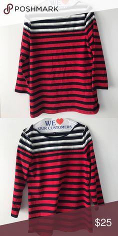 Red, white, navy blue striped shirt Lightly worn. Size M. Perfect for work or casual The Limited Tops Blouses