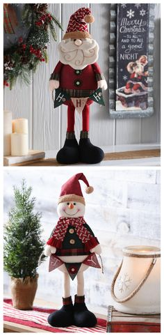 It's all in the details! This Christmas, add a Rustic Plush Santa or Snowman to your bathroom, bedroom or other room that needs some festive cheer. Christmas Sewing, Christmas Fabric, Primitive Christmas, Christmas Snowman, Rustic Christmas, Winter Christmas, All Things Christmas, Christmas Time, Christmas Stockings