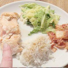 Teriyaki salmon with cabbage, rice and kimchi