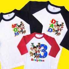 Paw Patrol Birthday Shirts. Set of 3 Family Birthday Raglans.   Etsy