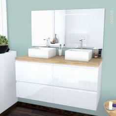 Ensemble salle de bains - Meuble IPOMA Blanc - Plan de toilette Hosta - Double vasque - Miroir lumineux - L120 x H57 x P50 cm