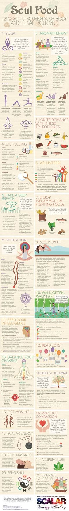 21 Ways to Nourish Your Body and Elevate Your Mind #infographic #Health: