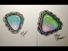 Gem Drawing, Jewelry Drawing, Jewelry Sketch, Video Gems, Colored Pencil Tutorial, Zentangle Patterns, Zentangles, Tangle Art, Coloring Tutorial