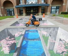 Amazing chalk art! We never did this in school...