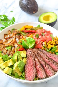 This Steak Salad is filled with grilled vegetables, ripe avocado, and a homemade cilantro lime dressing. Plus tutorial on how to tell if an avocado is ripe.