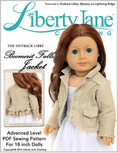 """Liberty Jane Boomerit Falls Jacket Pattern 18"""" Doll Clothes fits American Girl. Find the PDF pattern at Pixie Faire www.pixiefaire.com"""
