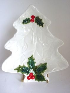 White Christmas Tree Tray Lefton China Christmas Tree Holiday Decor Candy Dish 8 x 7 in Snack Tray Holly Berries Home Decoration Serving by BonniesVintageAttic on Etsy Christmas China, Christmas Dishes, Christmas Tablescapes, White Christmas, Vintage Christmas, Christmas Decorations, Christmas Tree, Christmas Ornaments, Holiday Decor