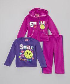 Look at this Purple 'Smile' Hoodie Set - Infant, Toddler
