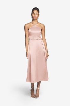 Gather and Gown Chatham: Satin tea-length bridesmaid dress.