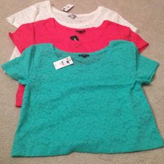 3 Lace Crop Tees Better price if bundled but can be listed separately for $15 each. Cream color, reddish coral, and aqua teal all size small. Express Tops