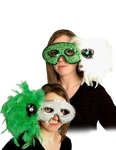 Bring radiant mystery to the dance floor with our beautiful Masquerade Mask. Our Masquerade Mask features a beautiful green glitter mask that has a green sequin trim. A clutch of soft white feathers is pegged to one side with a faux green crystal. Eye Masks, White Feathers, Green Glitter, St Patricks Day, Masquerade, Party Supplies, Round Sunglasses, Mystery, Floor