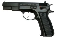 "CZ 75-a pistol made in the Czech Republic that has both semi-automatic and selective fire variants. First introduced in 1975, it is one of the original ""wonder nines"" featuring a staggered-column magazine, all-steel construction, and a hammer forged barrel. It has a good reputation amongst pistol shooters for quality and versatility at a reasonable price."