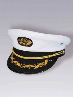 Sailor Navy Boating Nautica Captain Fancy Dress Party Costume Cap Hat Black S L